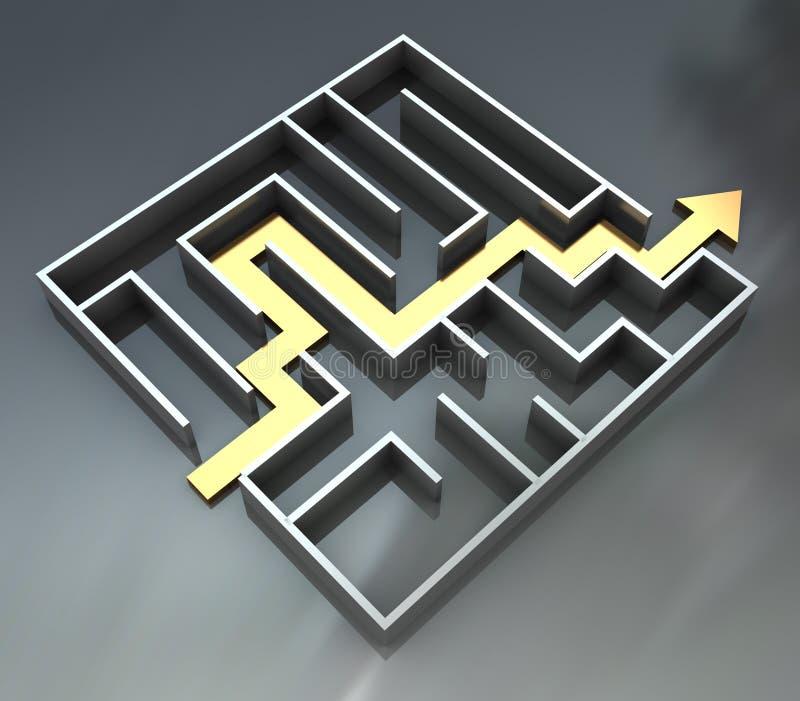 Labyrinth mit Pfeilweg lizenzfreie abbildung