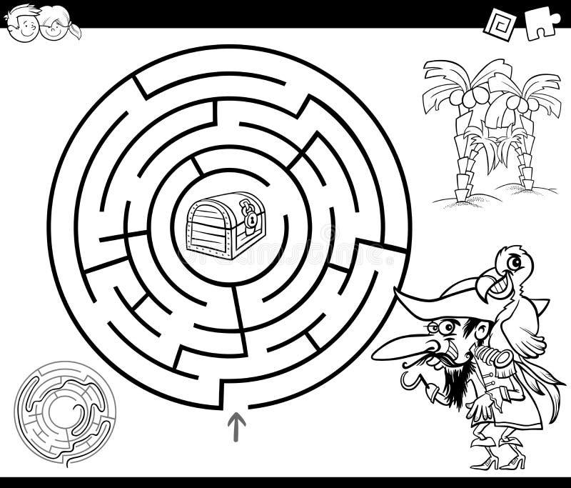 Labyrinth mit Piratenfarbtonseite lizenzfreie abbildung