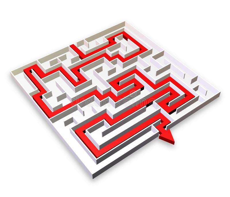 Labyrinth mit rotem Pfeil Solution-3d stock abbildung
