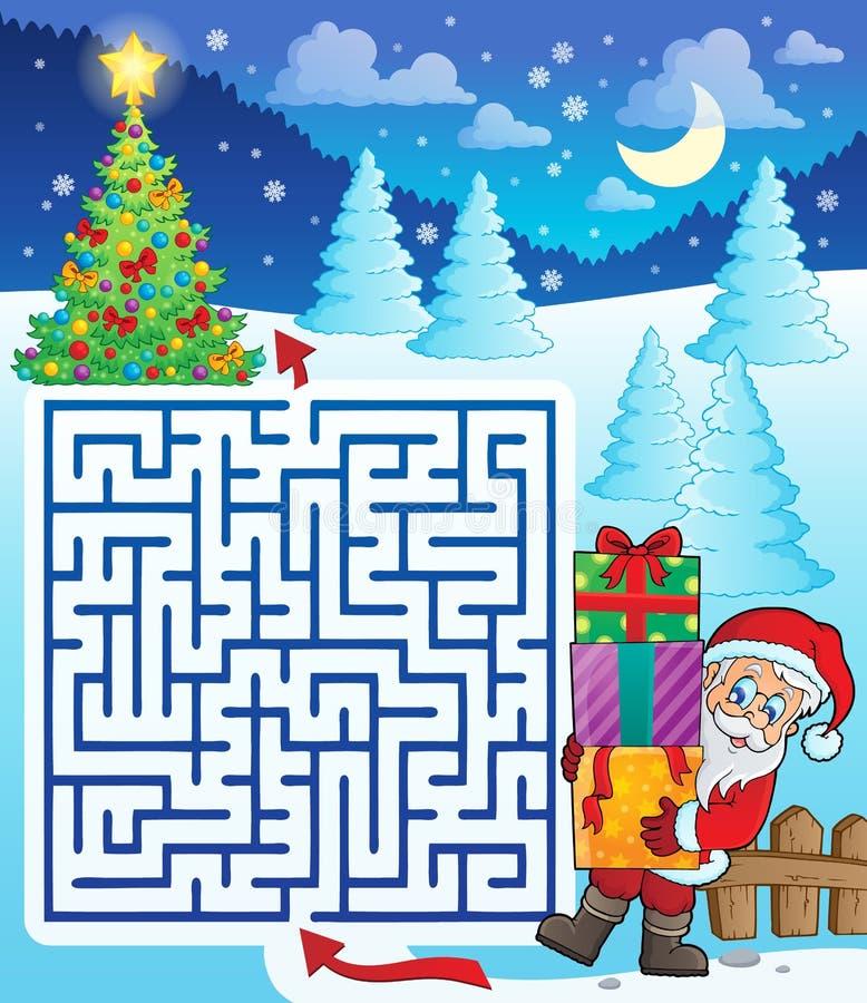 Labyrinth 3 mit Santa Claus und Geschenken vektor abbildung