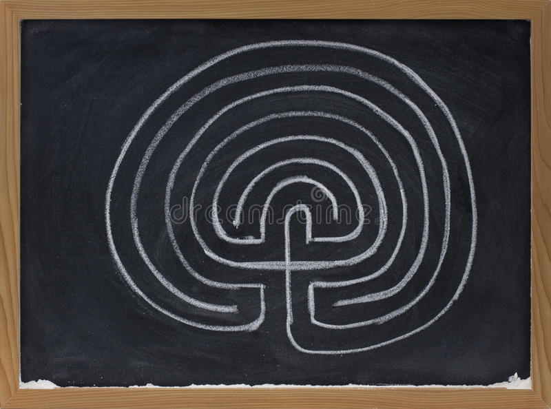 Labyrinth mit sieben Ringen auf Tafel lizenzfreie stockbilder