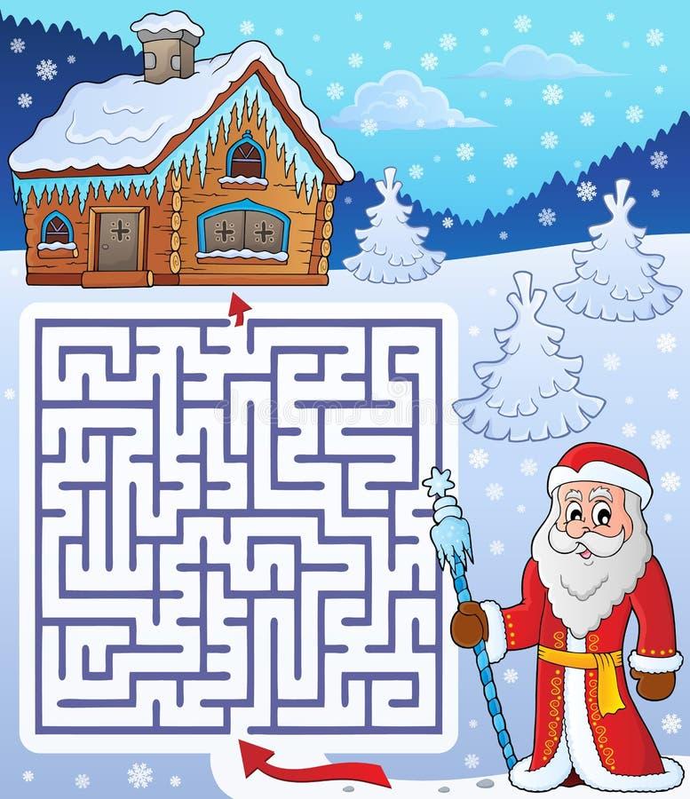 Labyrinth 3 mit Vater-Frost-Thema vektor abbildung