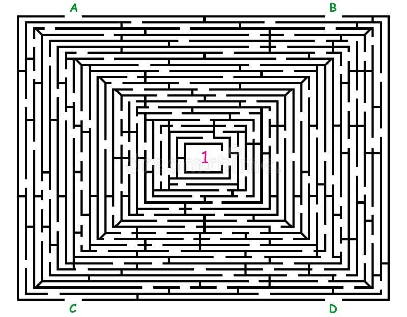 Labyrinth mit vier Einträgen stock abbildung