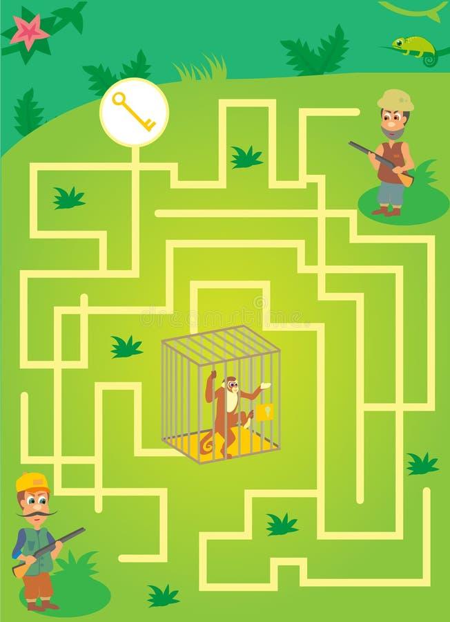 Labyrinth mit Wilderer und Affen im Käfig Speichern Sie den Affen Dschungellabyrinth lizenzfreie stockfotografie