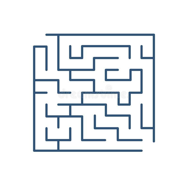 Labyrinth oder Labyrinth lokalisiert auf weißem Hintergrund Ausflugpuzzlespiel mit Eingang und Ausgang Enträtseln Sie, um zu löse stock abbildung