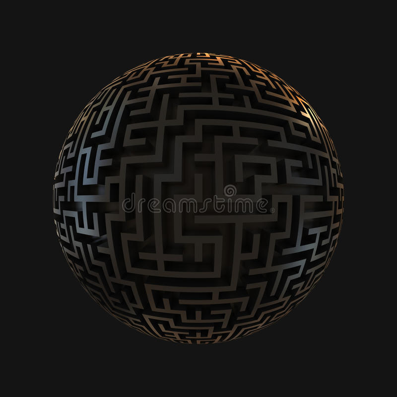 Free Labyrinth Planet - Endless Maze With Spherical Sha Royalty Free Stock Photos - 19349878