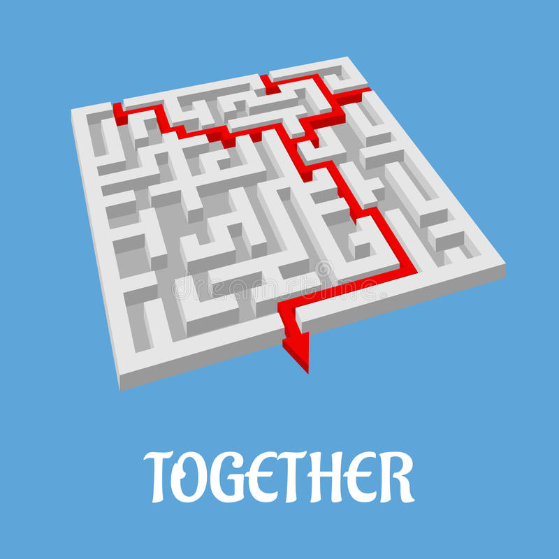 Labyrinth puzzle showing two alternative routes stock illustration