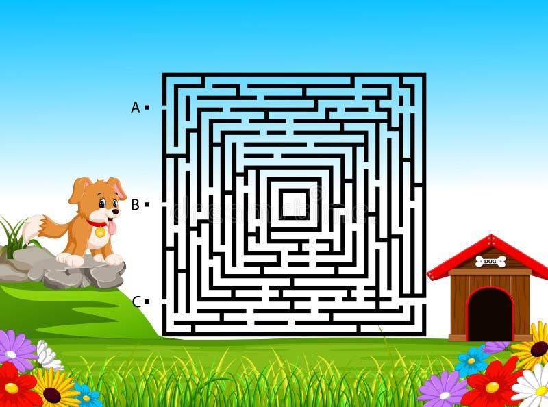 Labyrinth-Spiel für Vorschulkinder mit lustigem Hund und Hundehütte lizenzfreie abbildung