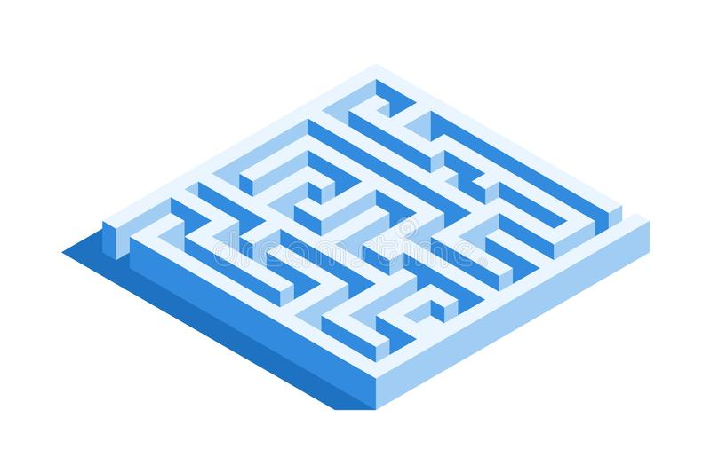 Labyrinth, square maze icon. Isometric template for web design in flat 3D style. Vector illustration royalty free illustration