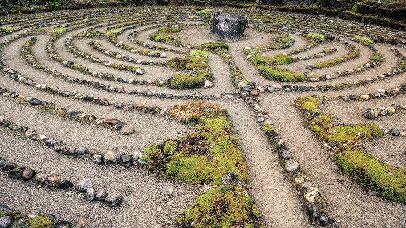 Labyrinth of stone stock image