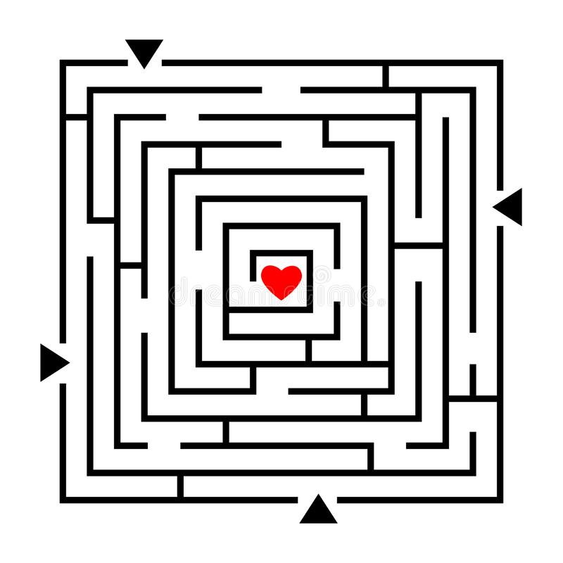 Labyrinth to heart puzzle vector illustration