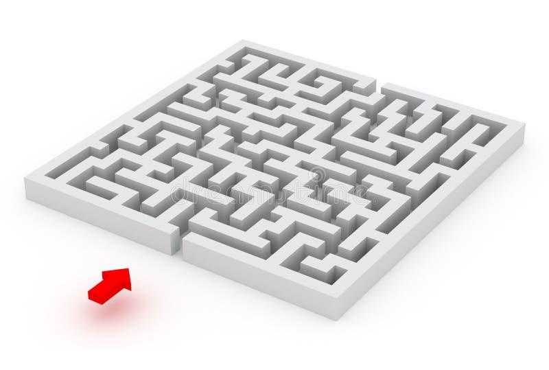 Labyrinth und der rote Pfeil, Bild 3d lizenzfreie abbildung