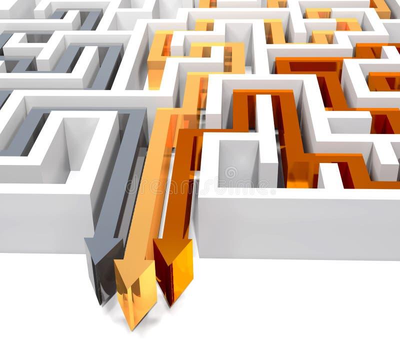 Labyrinth und drei Pfeile auf weißem Hintergrund vektor abbildung
