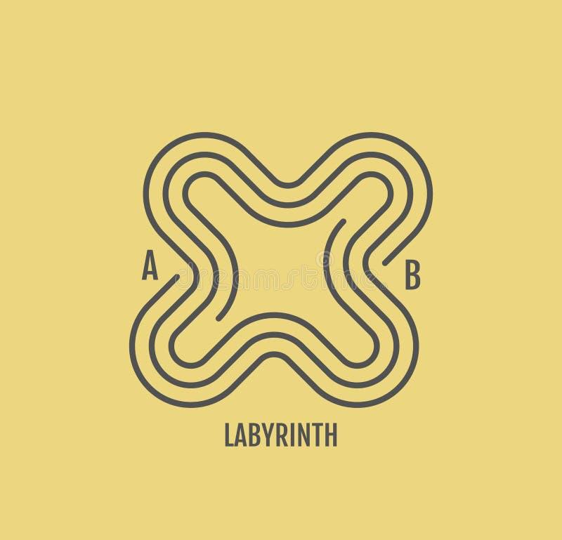 Labyrinth vector illustration. Line art design for invitation, poster, badge, monogram. Elegant luxury design template stock illustration