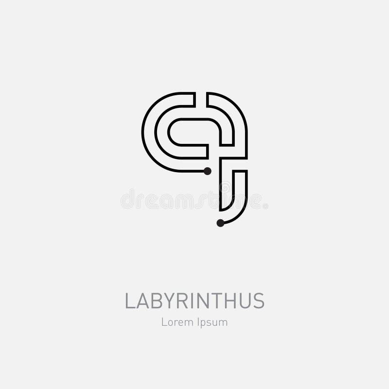 labyrinth vector logo template letter q line art rebus concep