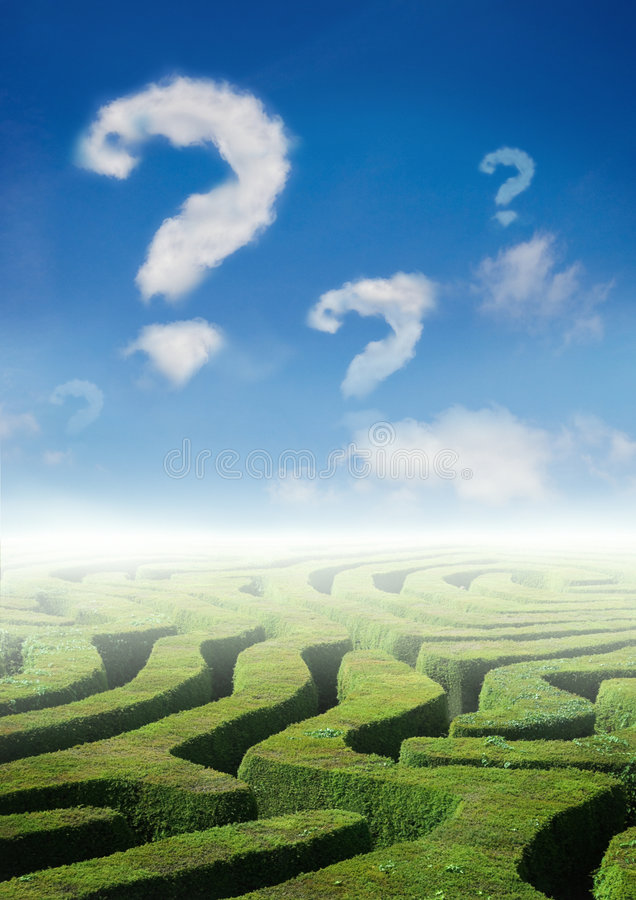 Labyrinth von Fragen stockbild