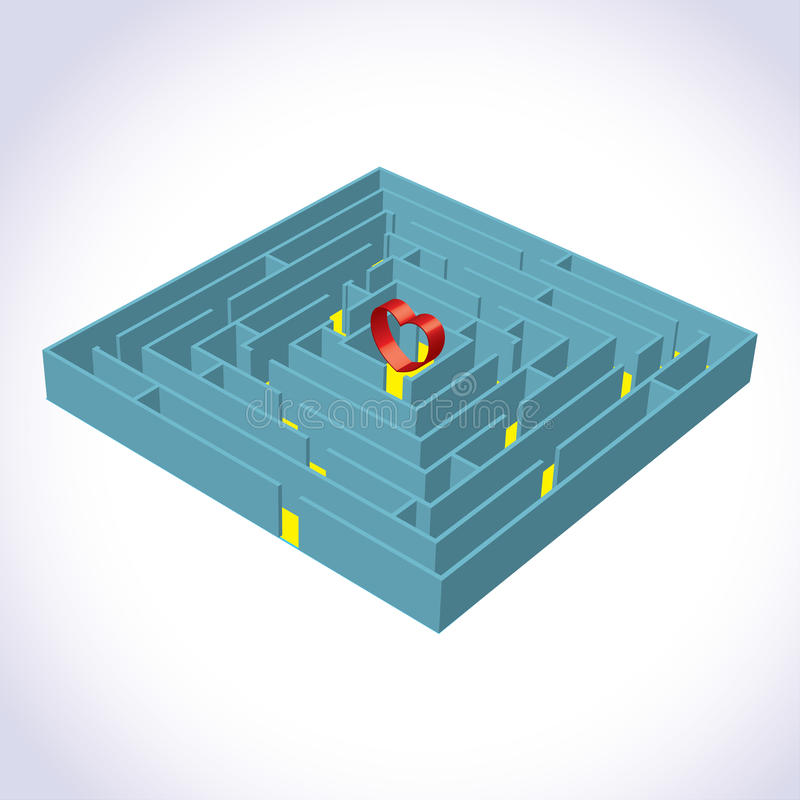 Free Labyrinth With A Heart 3D Royalty Free Stock Photography - 17976857