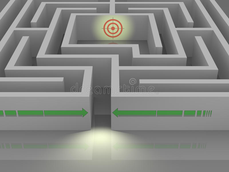 Labyrinth zur Zieleinheit lizenzfreie abbildung