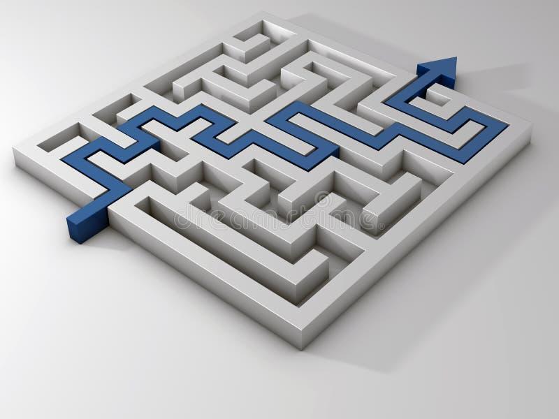 Labyrinthblau des Labyrinths 3d auf einem weißen Hintergrund stock abbildung