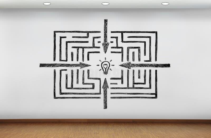 Labyrinthe au dessin de succès sur le mur image libre de droits