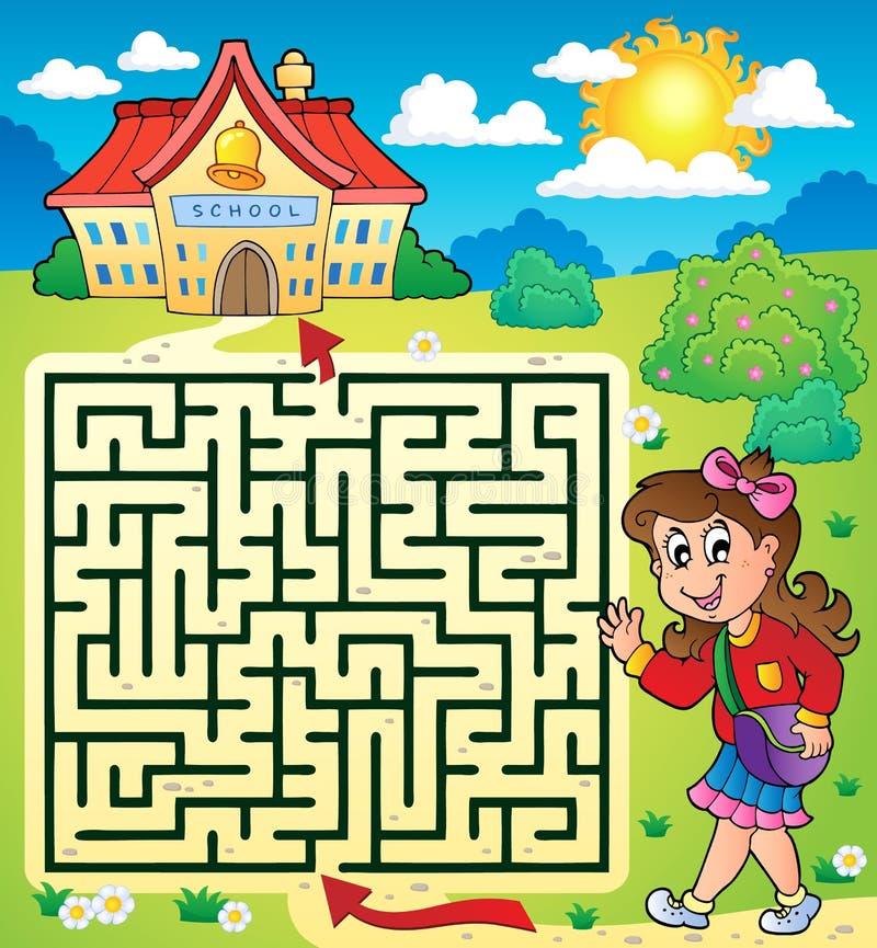 Labyrinthe 3 avec l'écolière illustration stock