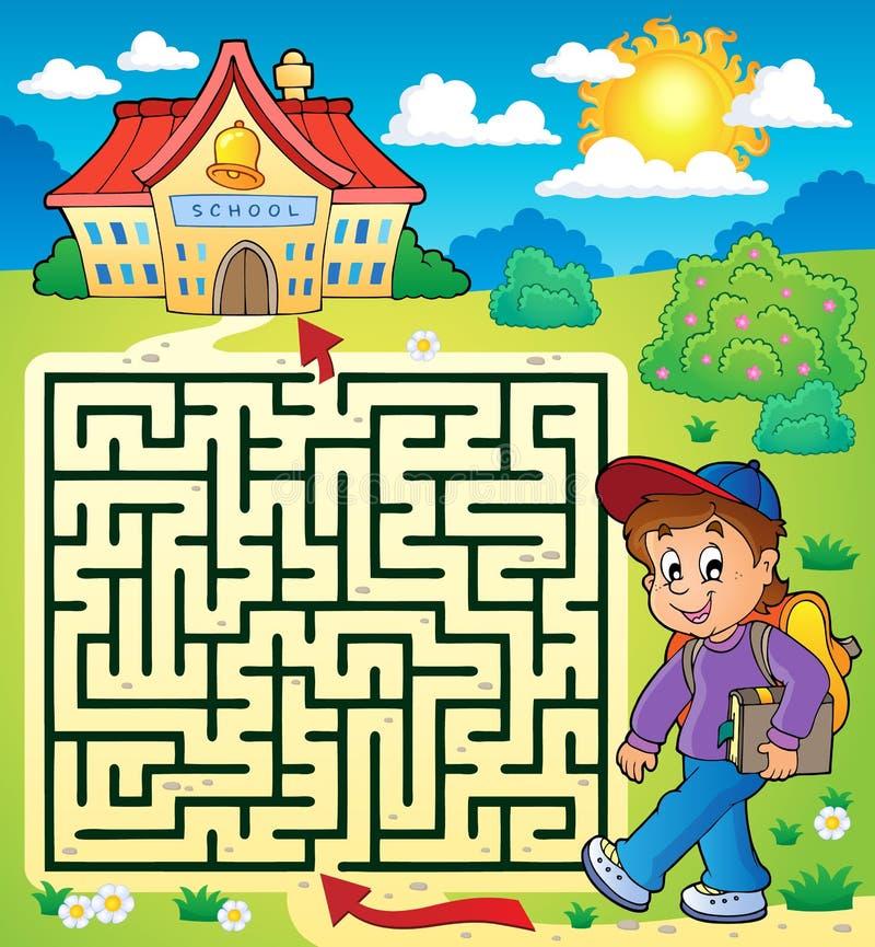 Labyrinthe 3 avec l'écolier illustration de vecteur