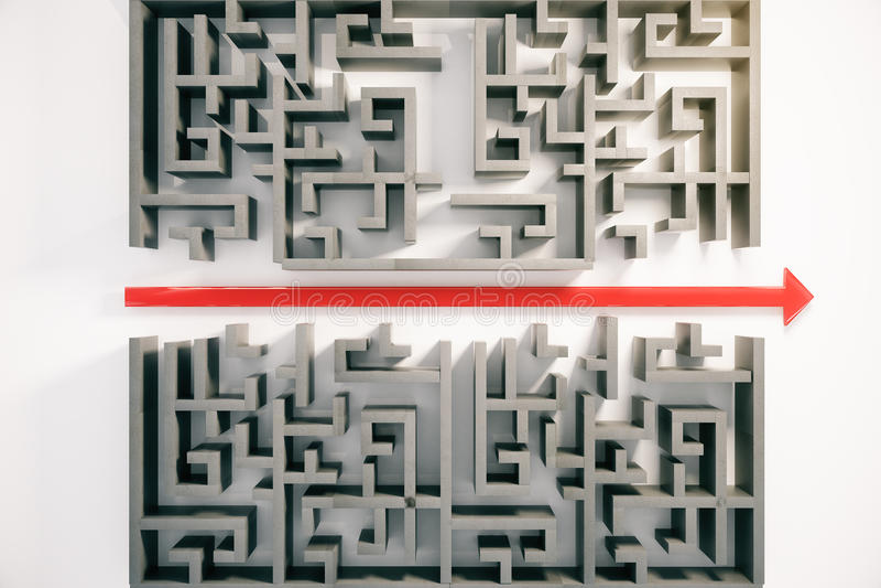 Labyrinthe avec la flèche rouge illustration stock