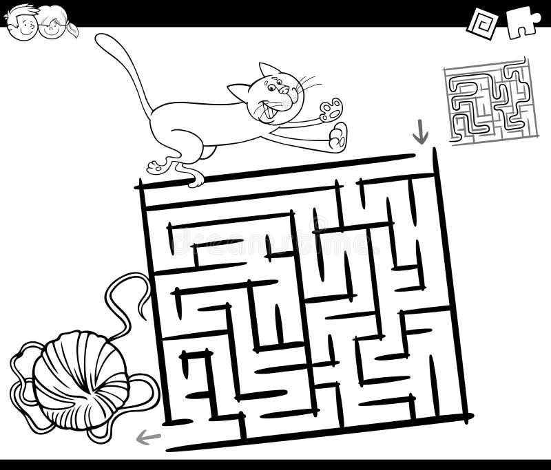 Labyrinthe avec la page de coloration de chat et de laine illustration libre de droits