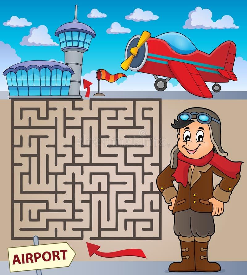 Labyrinthe 3 avec la thématique 1 d'aviation illustration stock