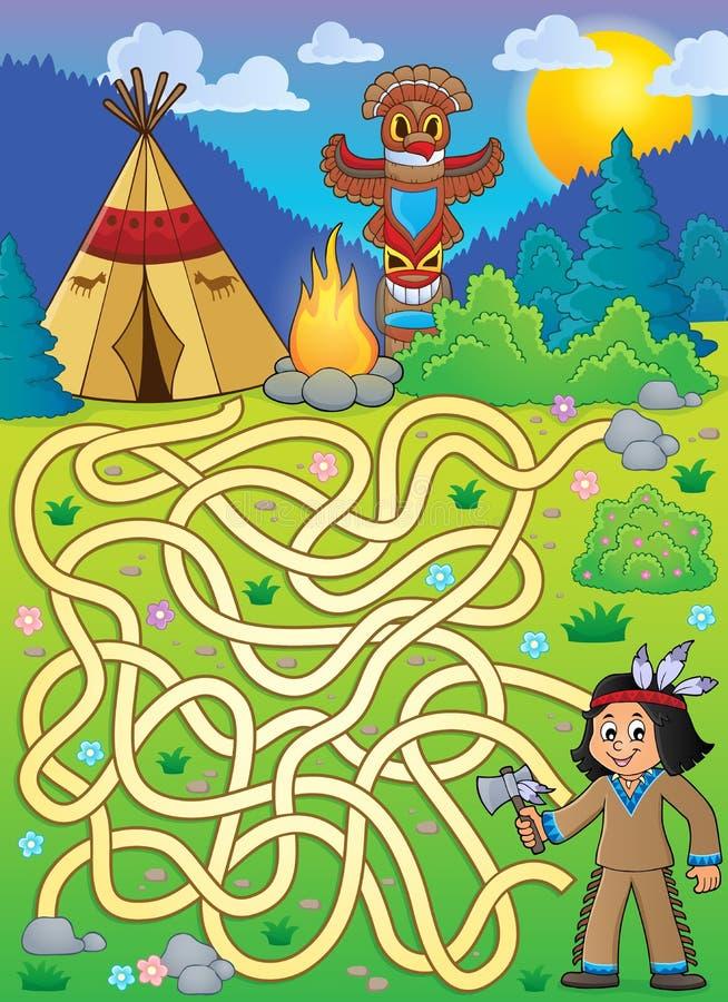 Labyrinthe 4 avec le garçon de Natif américain illustration libre de droits