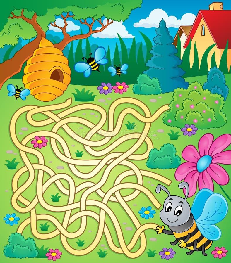 Labyrinthe 4 avec le thème d'abeille illustration stock