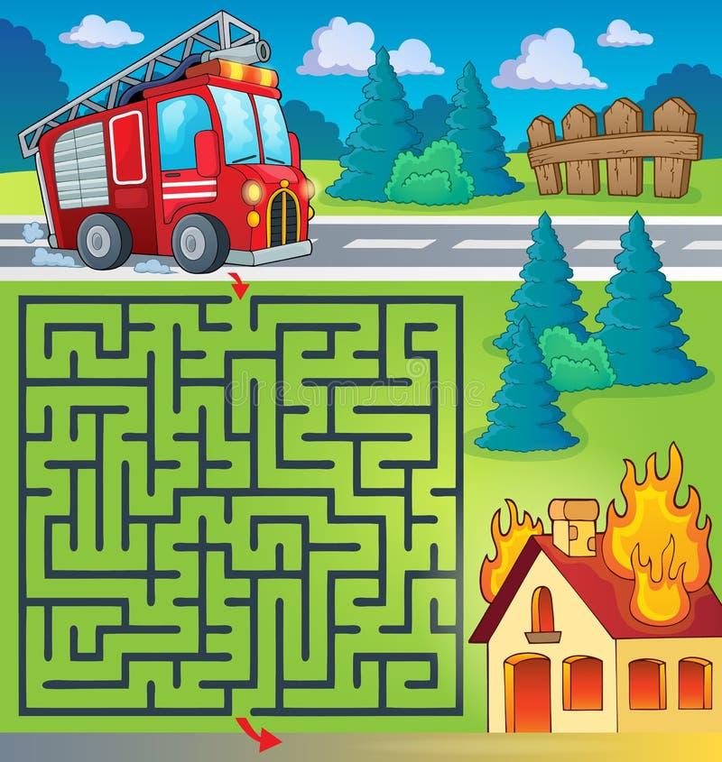 Labyrinthe 3 avec le thème de camion de pompiers illustration de vecteur