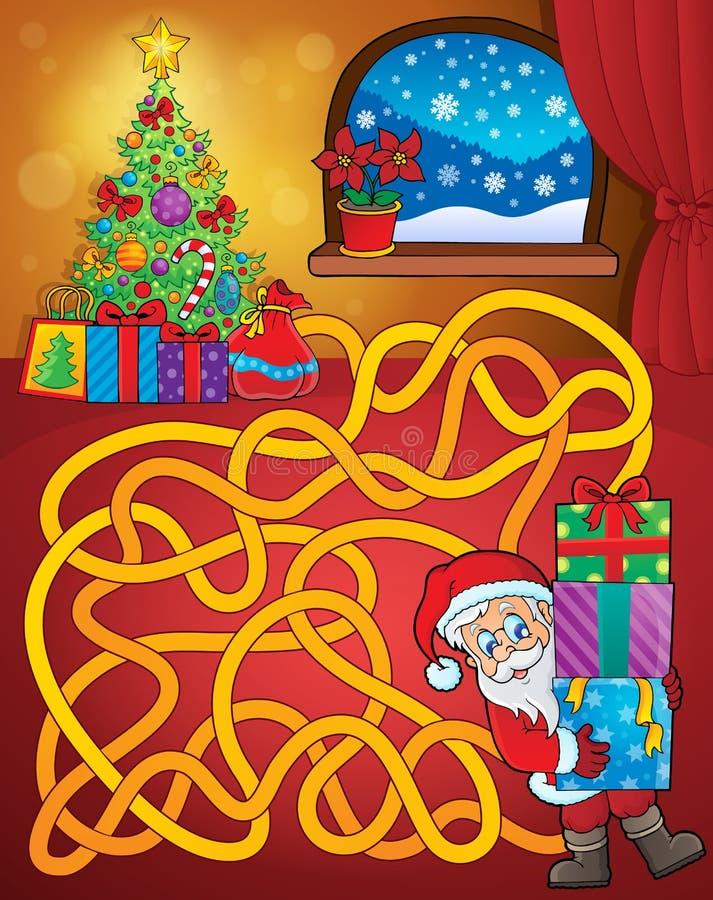 Labyrinthe 21 avec le thème de Noël illustration de vecteur