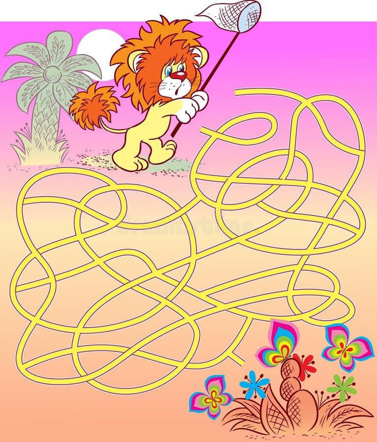 Labyrinthe avec un lion et des papillons illustration stock