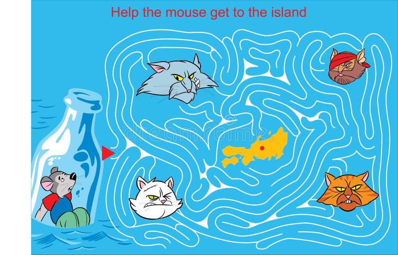 Labyrinthe avec une souris et des chats illustration de vecteur