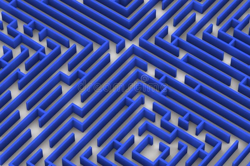 Labyrinthe bleu de couleur Fermez-vous vers le haut de l'image du rendu 3D sur le fond blanc illustration libre de droits