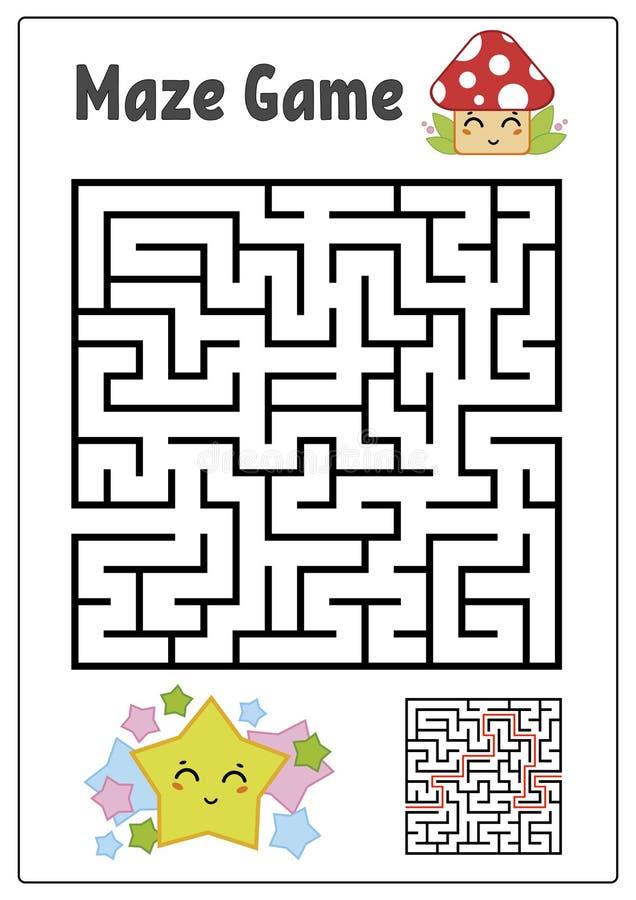 Labyrinthe carré abstrait Badine des fiches de travail Puzzle de jeu pour des enfants Étoile et champignon drôles sur un fond bla illustration stock