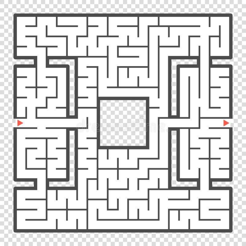 Labyrinthe carré abstrait Un jeu intéressant pour des adolescents et des adultes Une illustration plate simple de vecteur d'isole illustration libre de droits