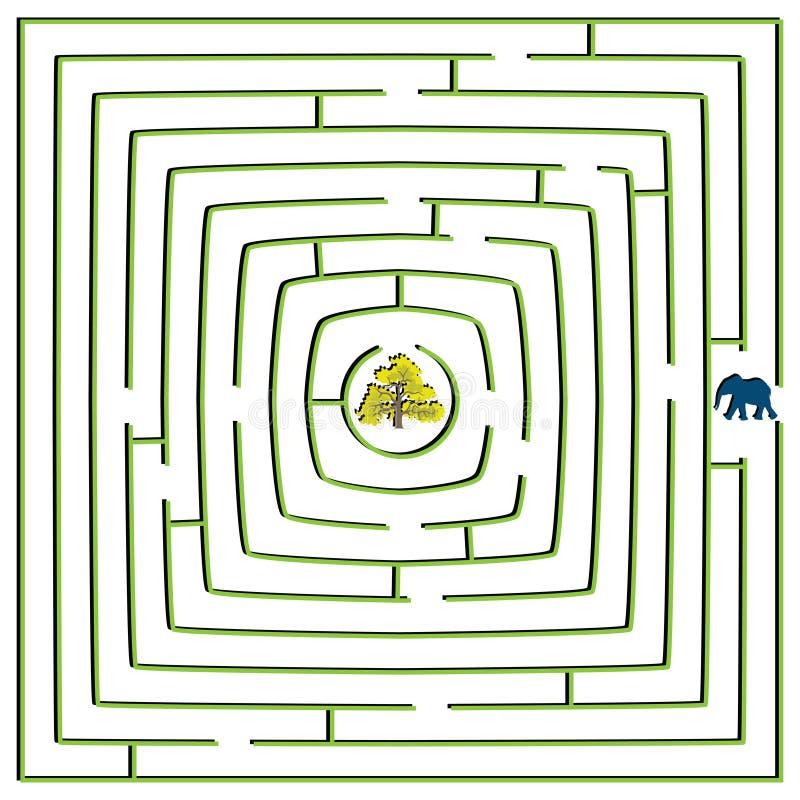 Labyrinthe carré rond illustration stock