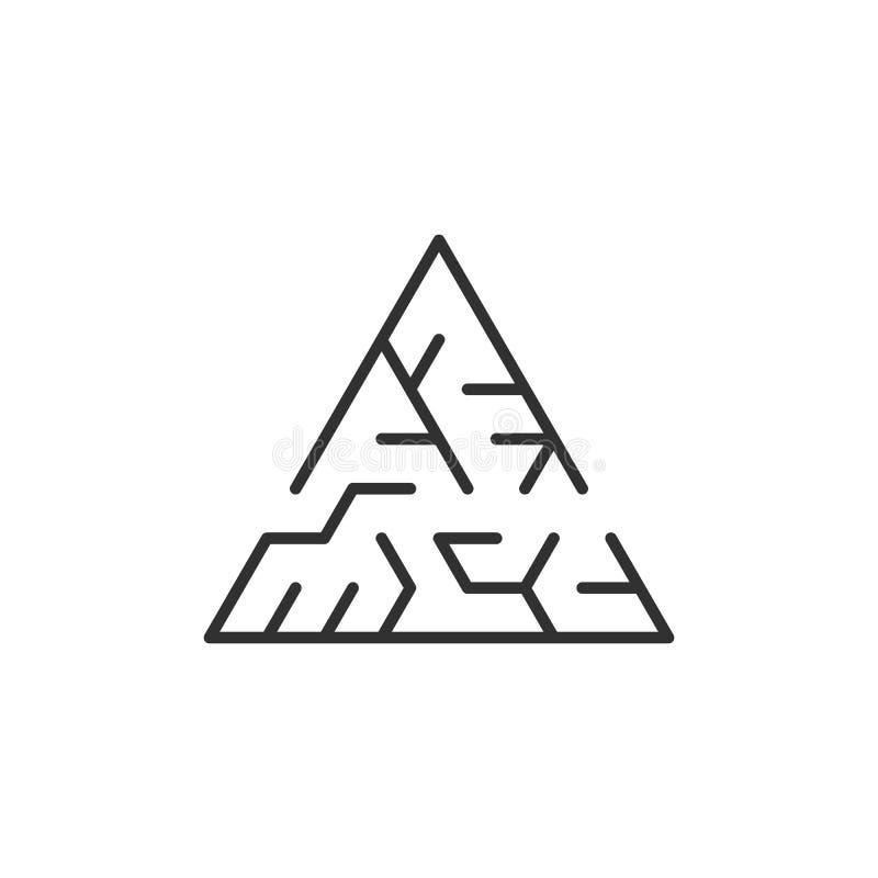 labyrinthe circulaire qui est sous forme de triangle Illustration de vecteur d'isolement sur le fond blanc illustration de vecteur