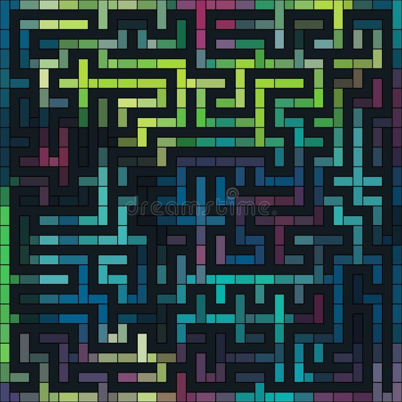 Labyrinthe coloré de grunge de vecteur illustration de vecteur