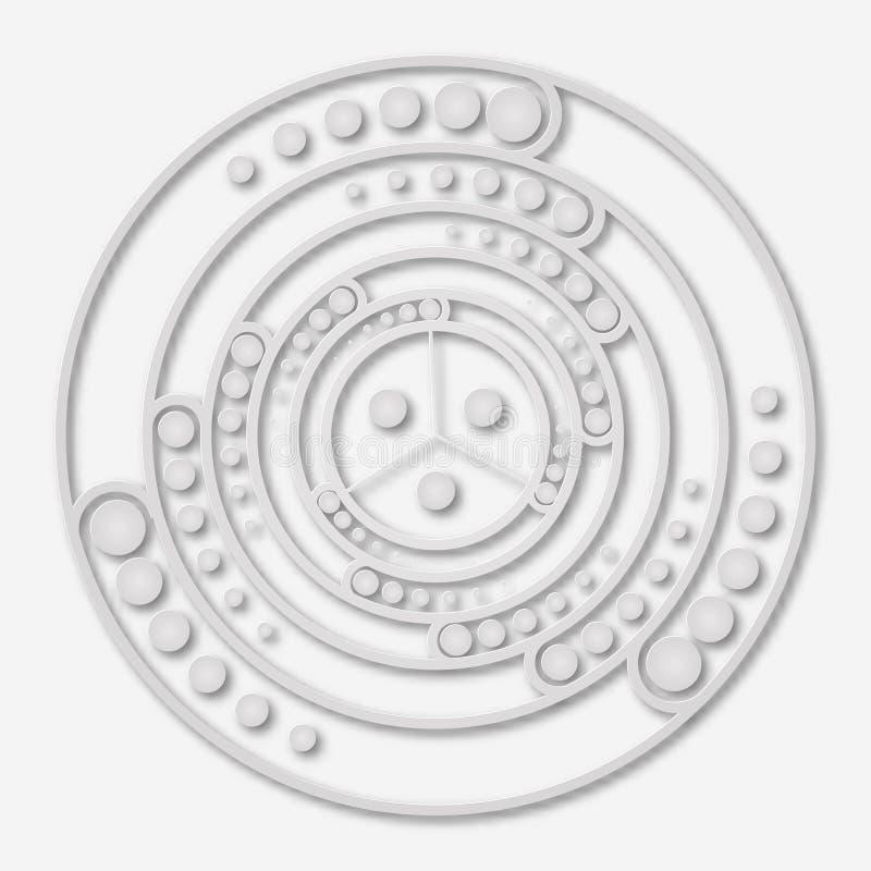 Labyrinthe conçu héliciforme fait de papier Symbole magique, cristal mystique Graphique semblable au papier spirituel de la géomé illustration de vecteur