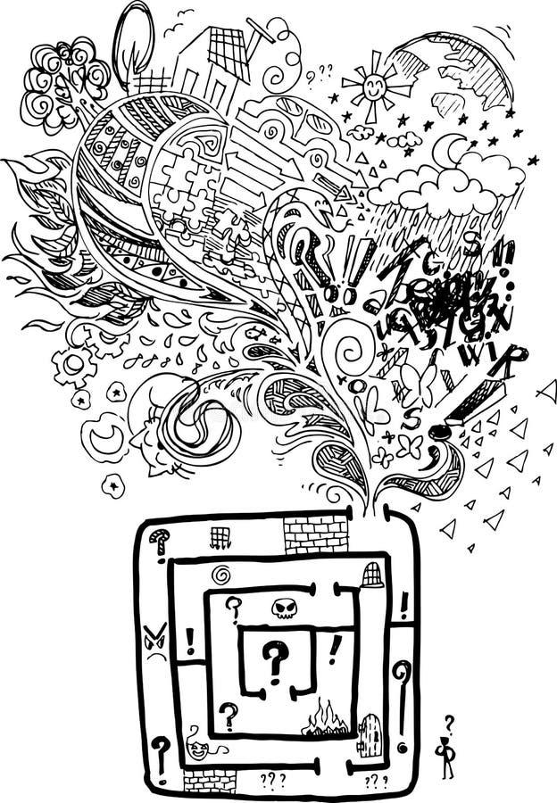 Labyrinthe confus de griffonnage peu précis illustration stock