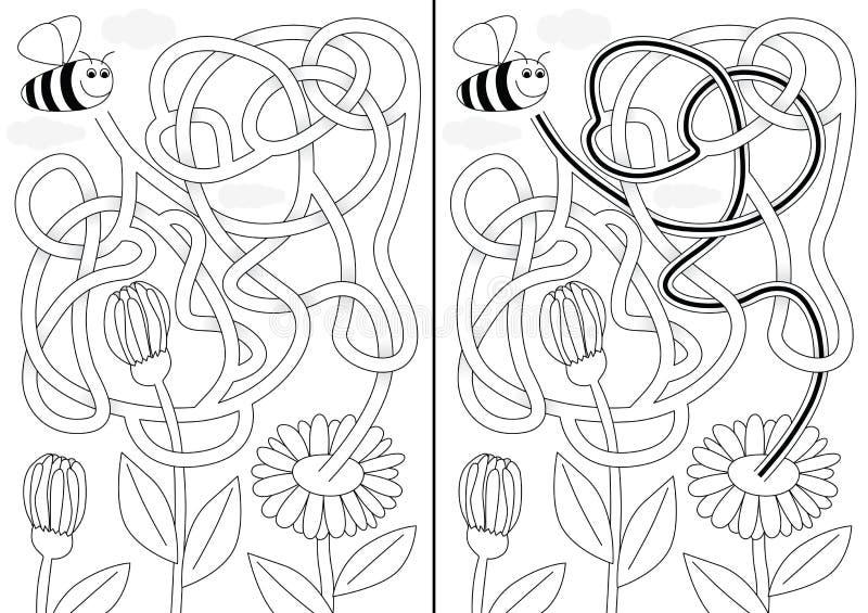 Labyrinthe d'abeille illustration de vecteur