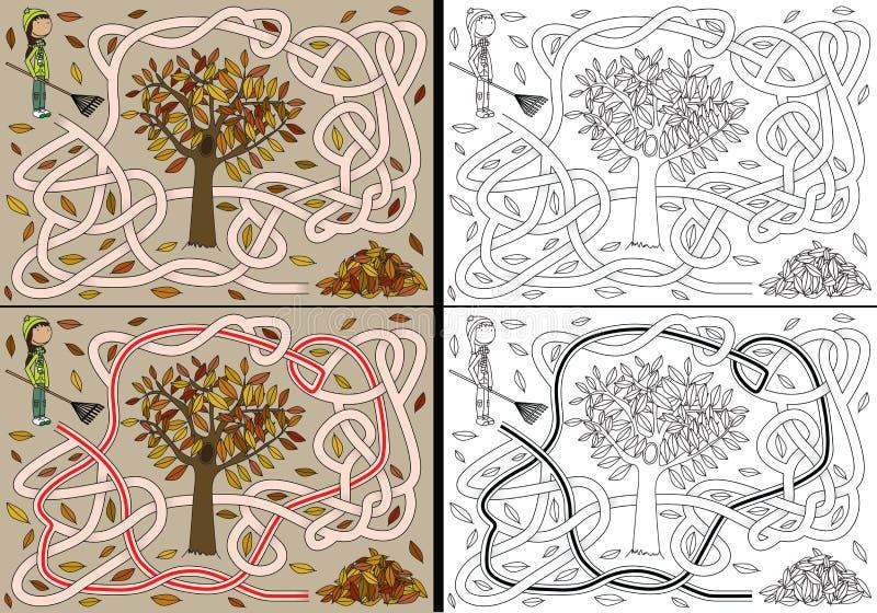 Labyrinthe d'automne illustration de vecteur