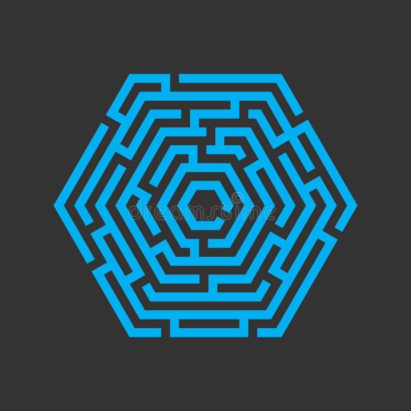 Labyrinthe d'hexagone, icône de labyrinthe Concept d'affaires illustration de vecteur