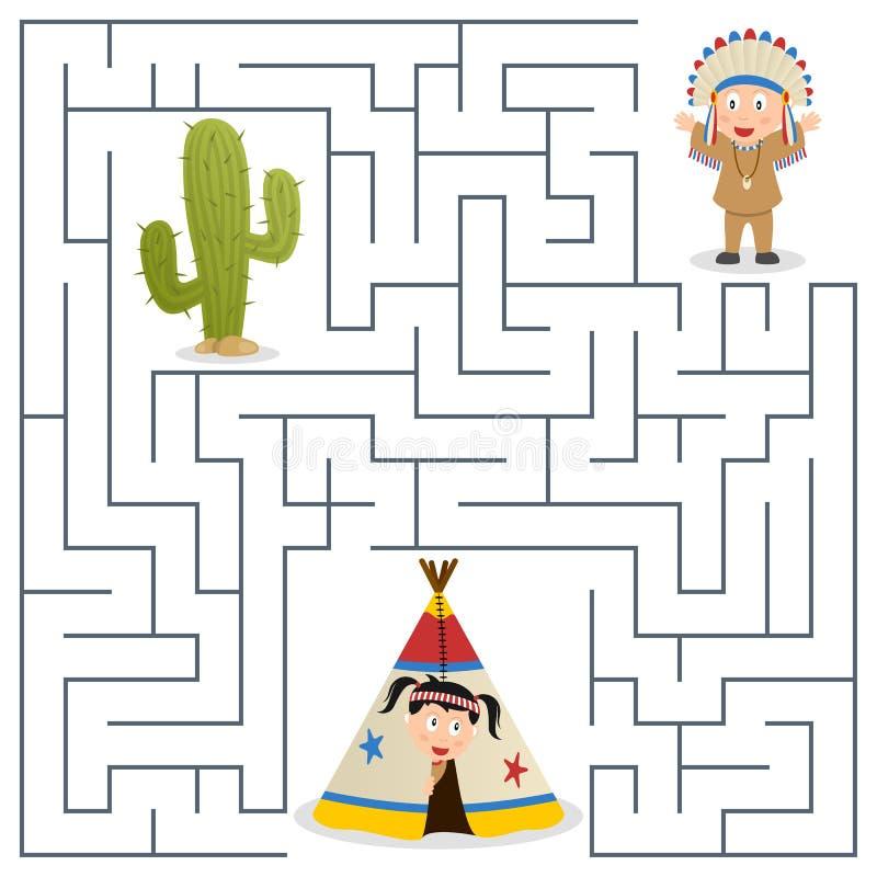 Labyrinthe d'Indiens d'Amerique pour des enfants illustration stock