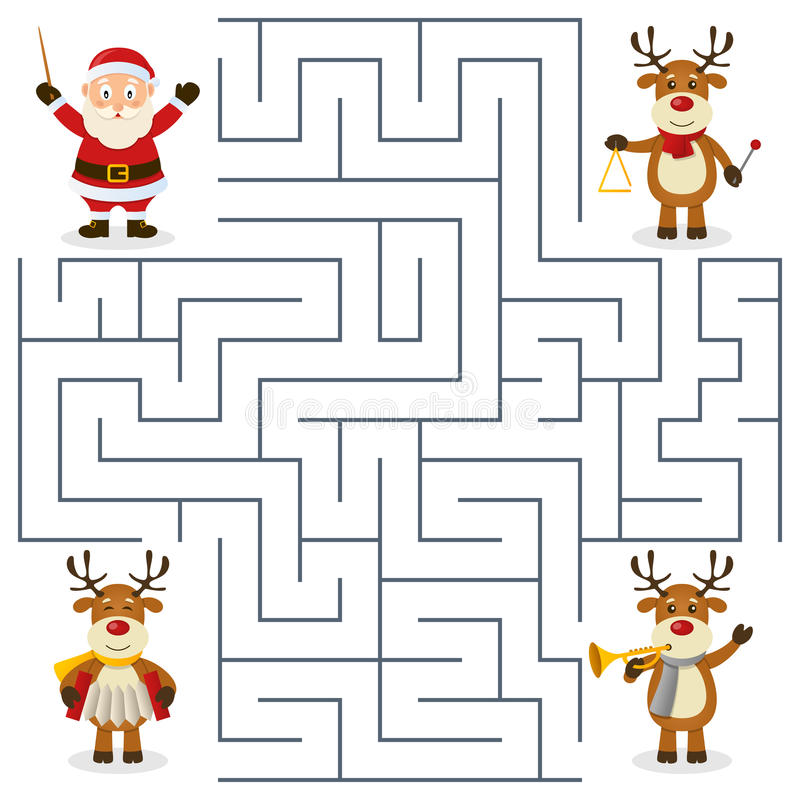 Labyrinthe d'orchestre de renne pour des enfants illustration libre de droits