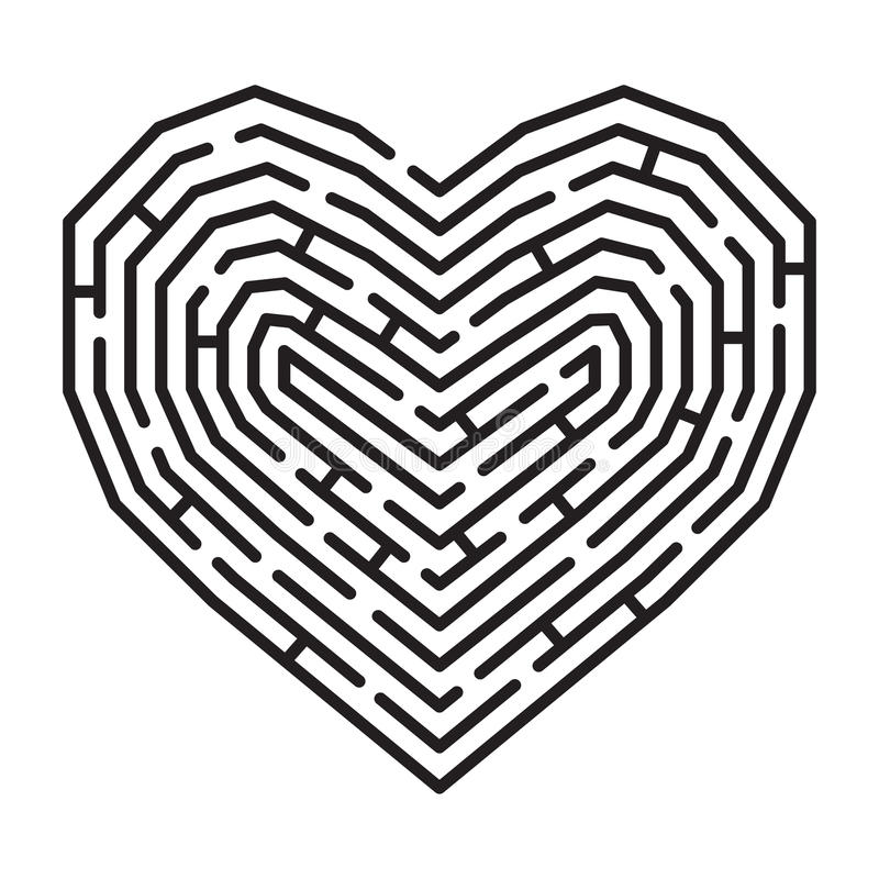 Labyrinthe dans une forme de coeur photos libres de droits