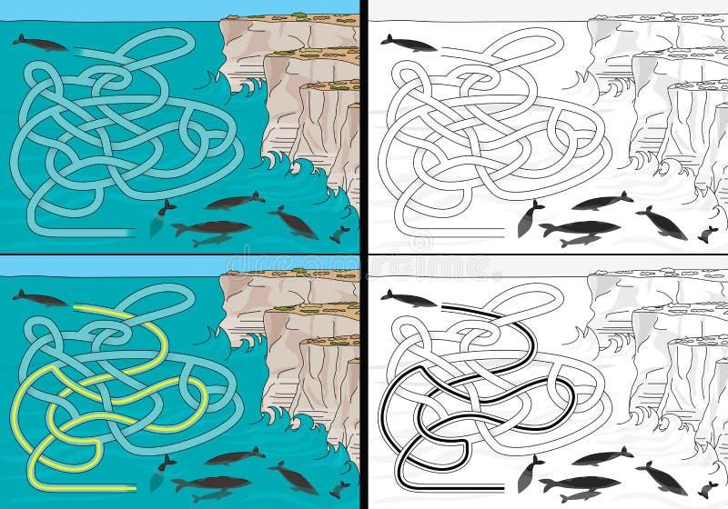 Labyrinthe de baleines illustration stock